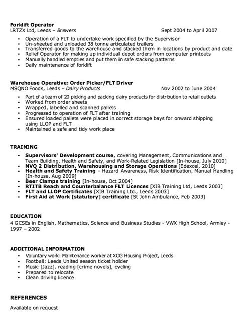cover letter exle for warehouse position sle of warehouse supervisor resume http