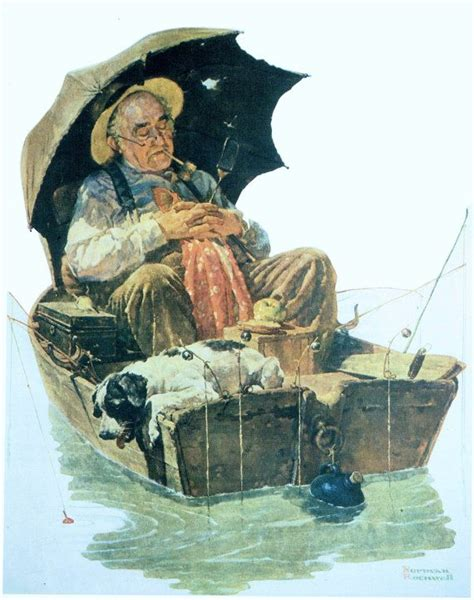 fishing boat art work norman rockwell vintage art print old man in fishing