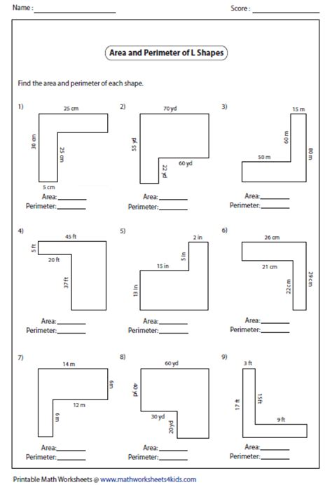Area Compound Shapes Worksheet Answers by Finding Area And Perimeter Of Irregular Shapes Worksheets