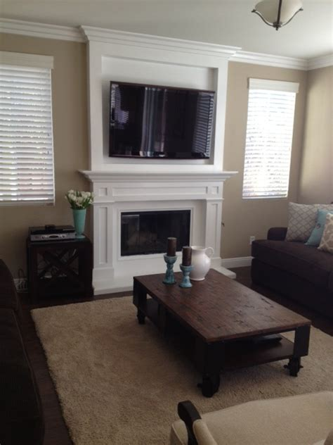 Custom Mantel in Murrieta   Television mounted over the