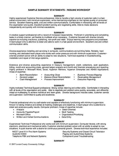 Resume Writing Hacks Sle Summary Statements Resume Workshop Http