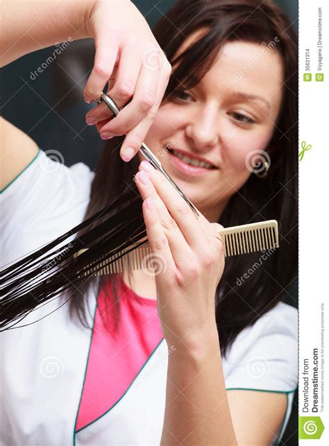 hairstylist cutting hair woman client  hairdressing beauty salon stock images image