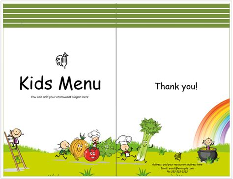 kids meal menu template word templates