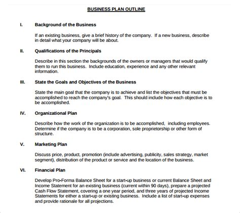 business plan format template small business plan template 9 free documents