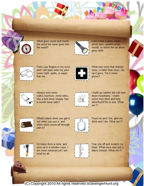 birthday themed riddles riddle me this way scavenger hunt princess and pirates