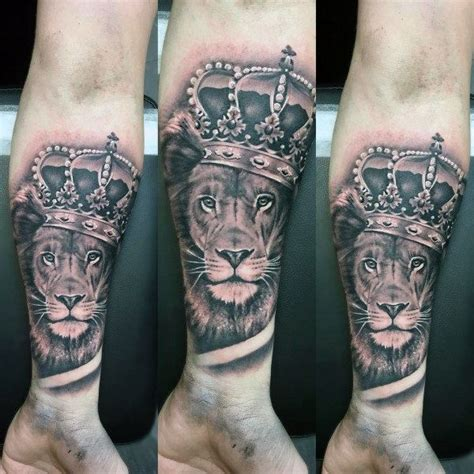 tattoo trends forearm sleeve mens lion with crown