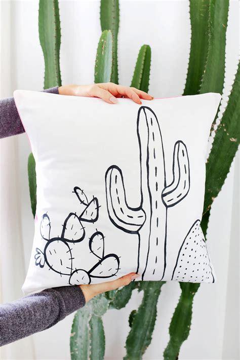cactus outline pillow diy  beautiful mess