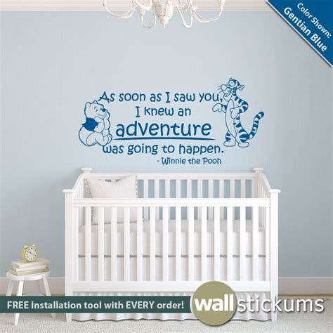 Winnie The Pooh Stickers For Walls winnie the pooh wall decal quote adventure quote with pooh
