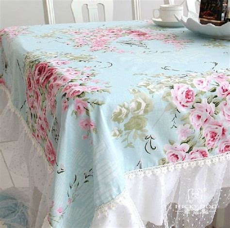 Shabby Home Decor Pink Lace Table Cloth 70120 Taplak Meja country cottage shabby chic floral blue pink table cloth ebay