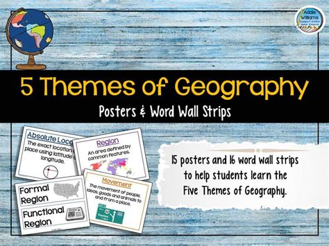 5 themes of geography brochure five themes of geography posters and word wall geography