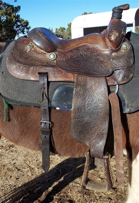 William N. Porter leather roping saddle,1950's