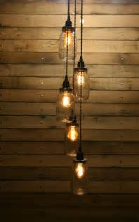 Hanging Bulb Chandelier 5 Jar Pendant Light Jar Chandelier Light Staggered Length Hanging Jar Hanging