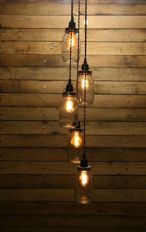 5 Jar Pendant Light Mason Jar Chandelier By Industrialrewind Jar Pendant Lights