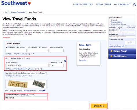 Check A Gift Card Balance - southwest airlines gift card balance lamoureph blog