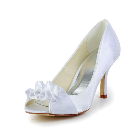 flower satin shoes white wedding wedding shoes satin flower peep toe kitten