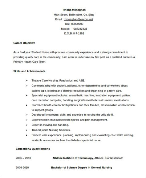 Resume Exles For Nursing Students Nursing Student Resume Exle 9 Free Word Pdf