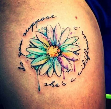 do you suppose she s a wildflower daisy tattoo watercolor