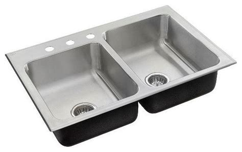 Just Kitchen Sinks Just Offset Bowl Drop In 19x33x7 5 Stainless Steel Outdoor Sink 18 Modern