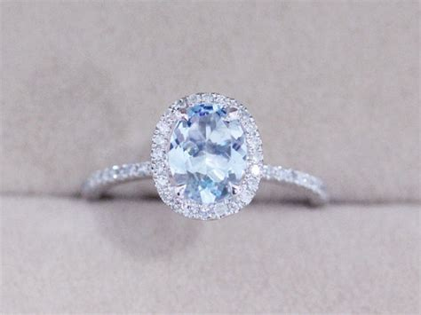 vs 6x8mm blue aquamarine ring solid 14k white gold ring