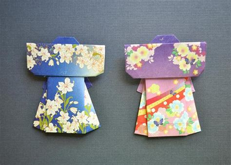 How To Make Origami Kimono - origami kimono set blue and purple umeorigami