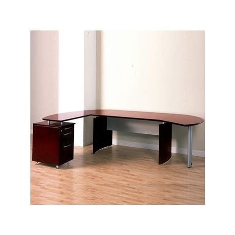 mayline napoli 63 quot wood l shaped desk in mahogany 169148