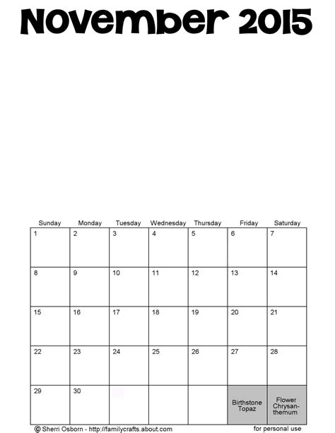 printable calendar november 2015 pdf printable november calendars holiday favorites