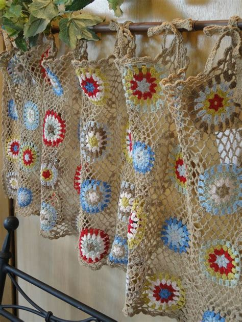 The Crochet Curtains Curtains With Charm Of Covers Home Crochet Kitchen Curtains
