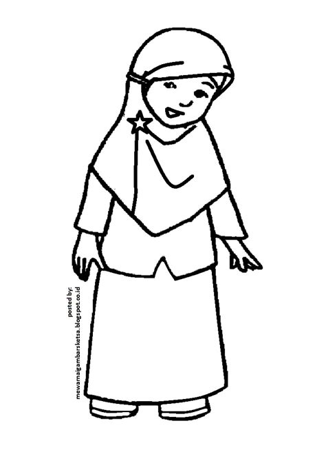 mewarnai gambar mewarnai gambar sketsa kartun anak muslimah 20