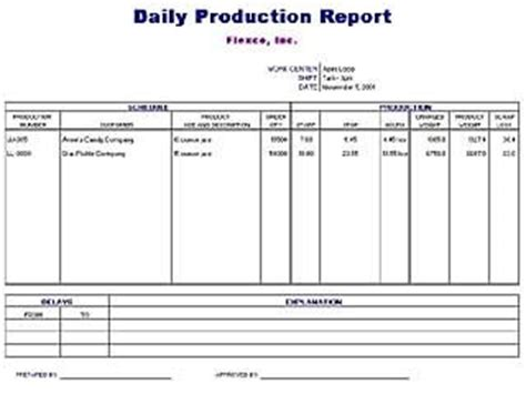 Production Progress Report Template daily production report template free layout amp format