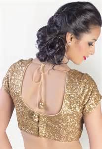 Kbsh short sleeve embellished gold saree blouse trendy mods com