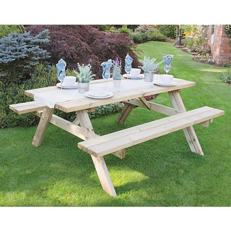 bench becomes picnic table forest garden rectangular picnic bench table large