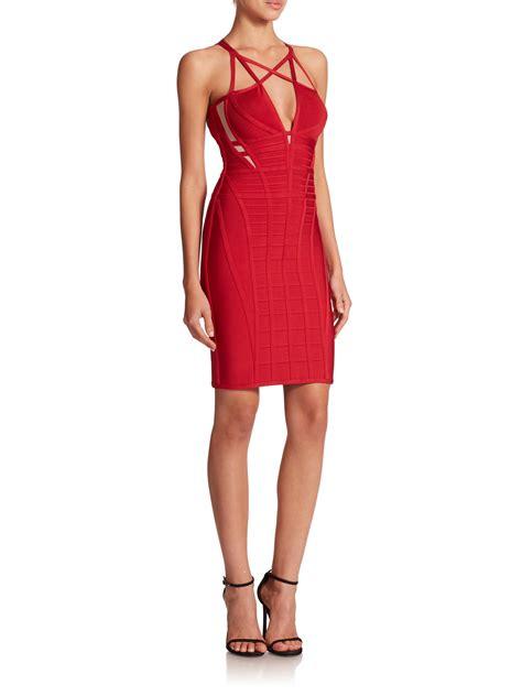 Bandage Dress lyst herv 233 l 233 ger crisscross bandage dress in