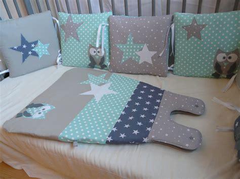 tour de lit chouettes et 233 toiles vert d eau et gris