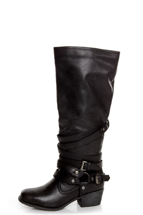 fab boots pink pepper fab black belted motorcycle boots 79 00