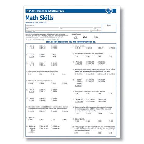 workplace math skills test workplace essential skills