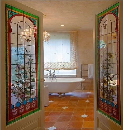 glass bathroom doors interior bathroom with interior stained glass doors home