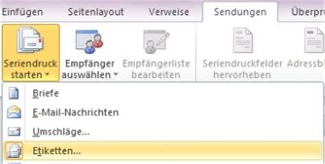 Etiketten Drucken Aus Einer Excel Tabelle by Serienetiketten Mit Word Erstellen Office Lernen