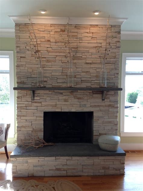 fireplace ledgestone w slab mantle and