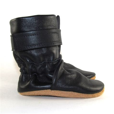 infant boots soft black leather half calf baby boots shoes 6 12 months