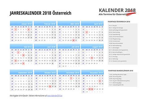 Sterreichischer Kalender 2018 Kalender 2018 214 Sterreich Feiertage Ferien Kw