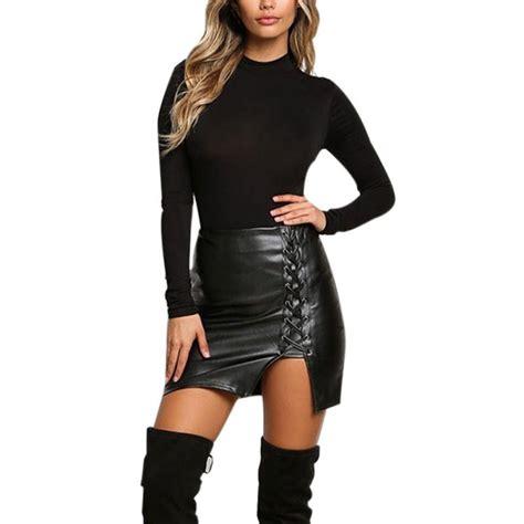 Mini Dress S Xl au pu leather high waist lace up pencil bodycon skirt mini dress s xl ebay