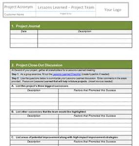 Lessons Learned Project Management Template project templates project management templates