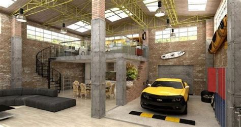 loft garage urban industrial loft apartment garage interior design mag