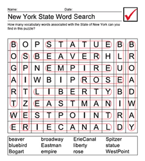 New York Search Printable New York Word Search Answer Sheet Us Geography For Elementary Teachers