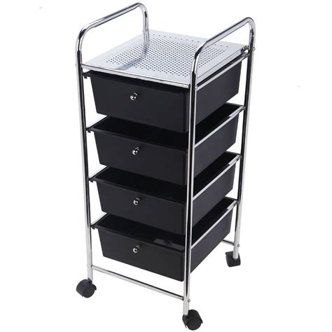 Drawer Cart With Wheels by 4 Drawer Trolley Mobile Office Salon Storage Cart Wheels