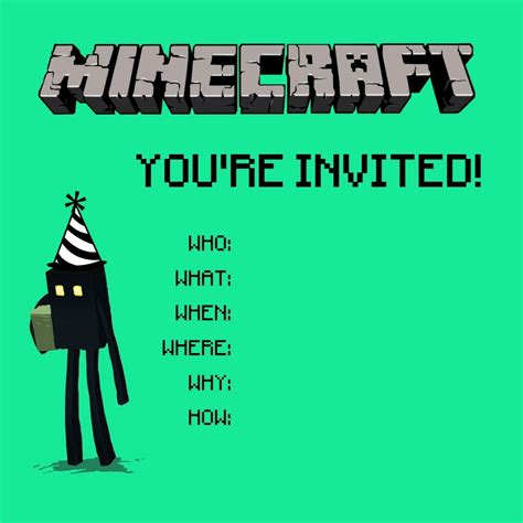 free printable birthday invitations 9 years old minecraft birthday party invitations templates cimvitation