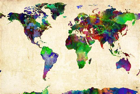 The World In Watercolor by World Map Watercolor Digital By Gary Grayson