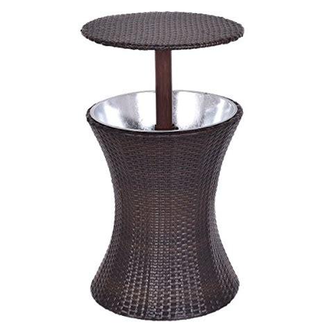 cooler table giantex adjustable outdoor patio rattan cooler cool bar table deck pool 1pc brown
