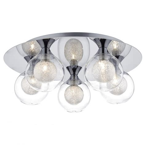 Dar Lighting Zeke 5 Light Flush Ceiling Fitting In Chrome Ceiling Light Fitting