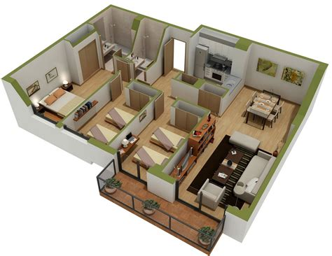 3d apartment 25 three bedroom house apartment floor plans